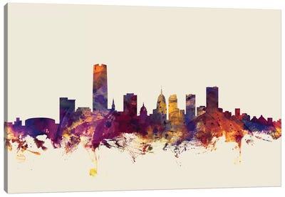 Skyline Series: Oklahoma City, Oklahoma, USA On Beige Canvas Print #MTO370