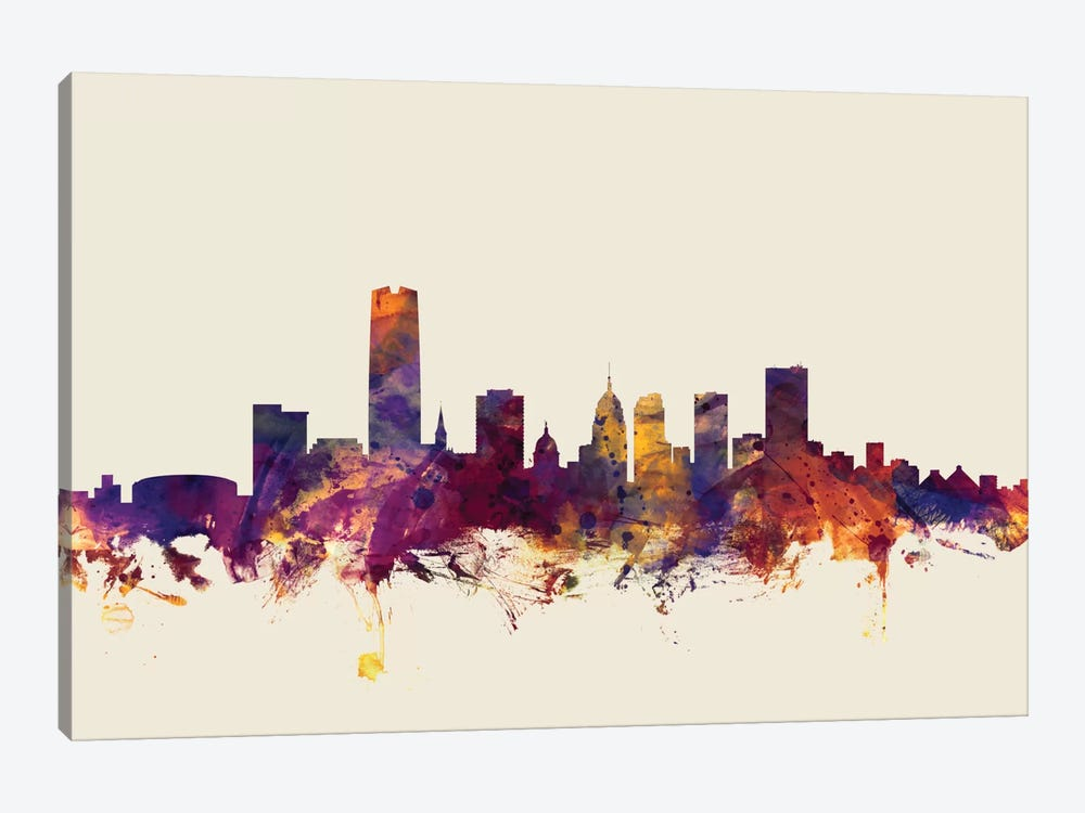 Skyline Series: Oklahoma City, Oklahoma, USA On Beige by Michael Tompsett 1-piece Canvas Wall Art