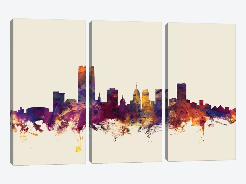 Skyline Series: Oklahoma City, Oklahoma, USA On Beige by Michael Tompsett 3-piece Canvas Art