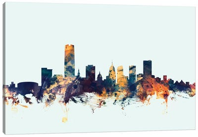 Skyline Series: Oklahoma City, Oklahoma, USA On Blue Canvas Print #MTO371