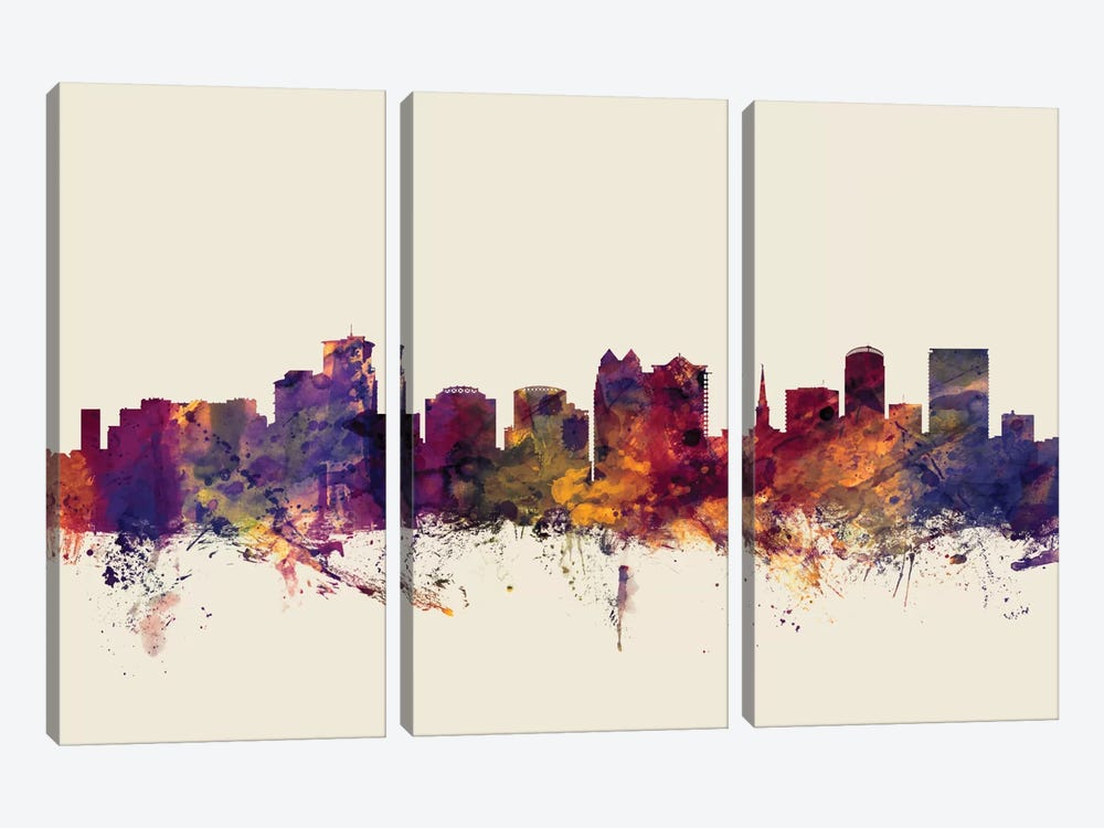Orlando, Florida, USA On Beige by Michael Tompsett 3-piece Canvas Art