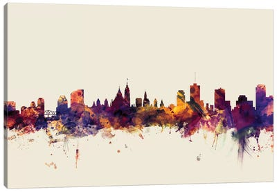 Skyline Series: Ottawa, Canada On Beige Canvas Print #MTO374