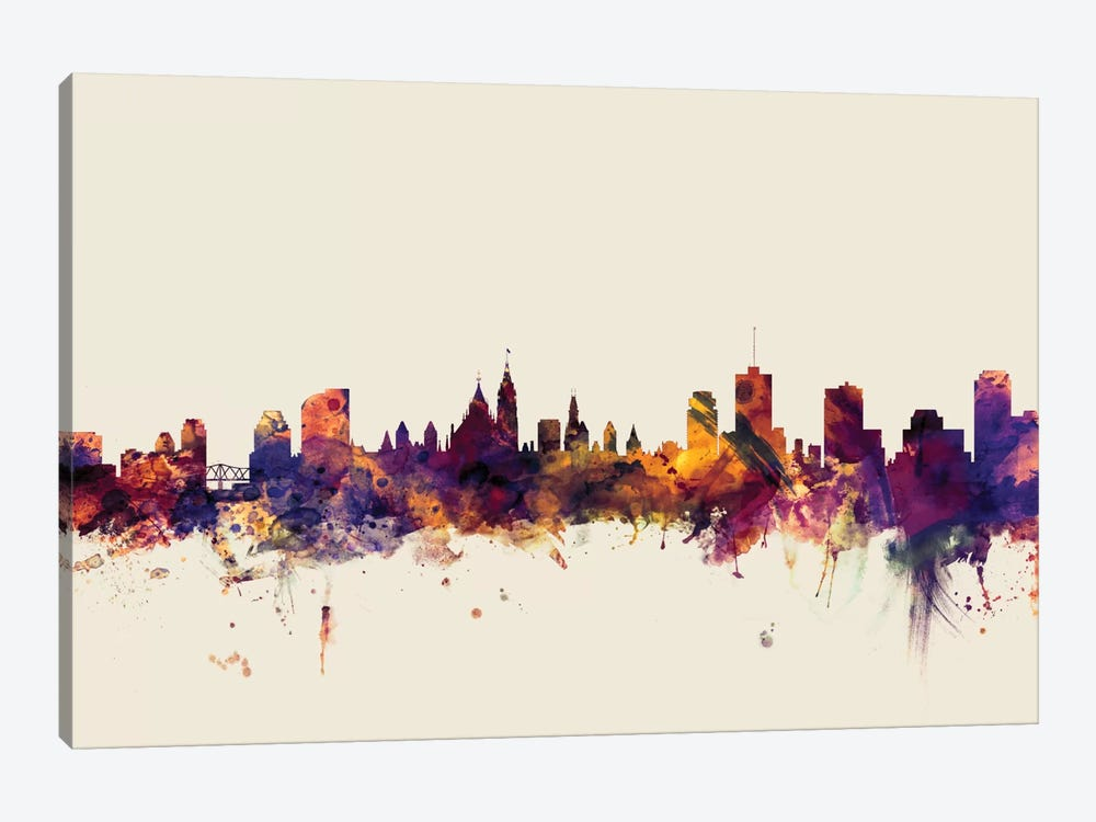 Ottawa, Canada On Beige by Michael Tompsett 1-piece Canvas Artwork