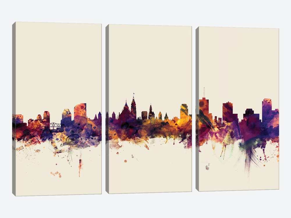 Ottawa, Canada On Beige by Michael Tompsett 3-piece Canvas Art