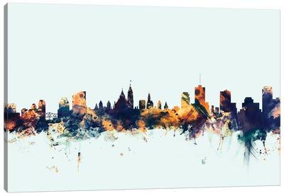 Skyline Series: Ottawa, Canada On Blue Canvas Print #MTO375