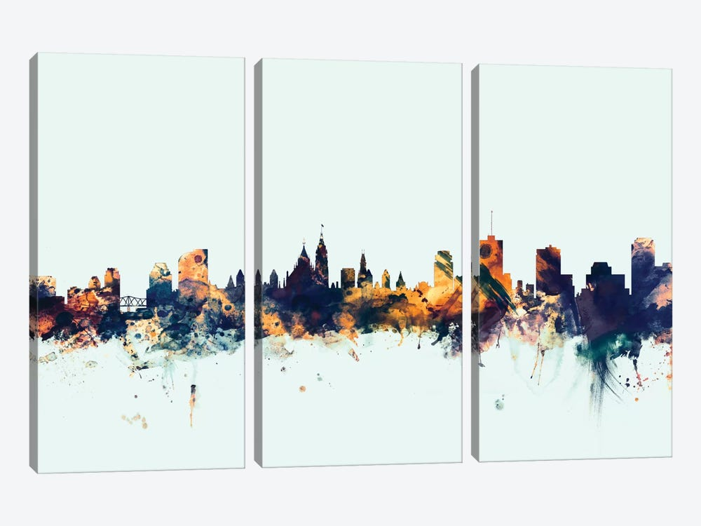Skyline Series: Ottawa, Canada On Blue by Michael Tompsett 3-piece Art Print