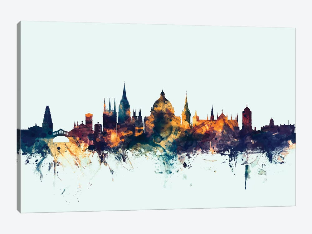 Skyline Series: Oxford, England, United Kingdom On Blue by Michael Tompsett 1-piece Canvas Print