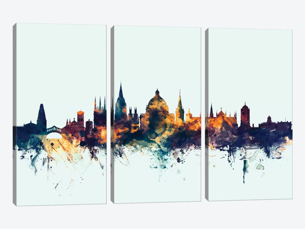 Skyline Series: Oxford, England, United Kingdom On Blue by Michael Tompsett 3-piece Canvas Print