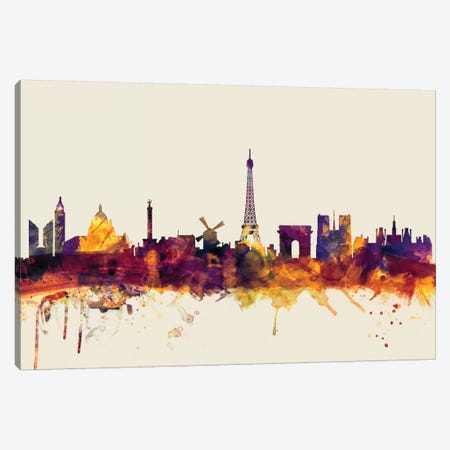 Paris, France On Beige Canvas Print #MTO378} by Michael Tompsett Canvas Print