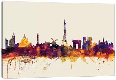 Skyline Series: Paris, France On Beige Canvas Print #MTO378