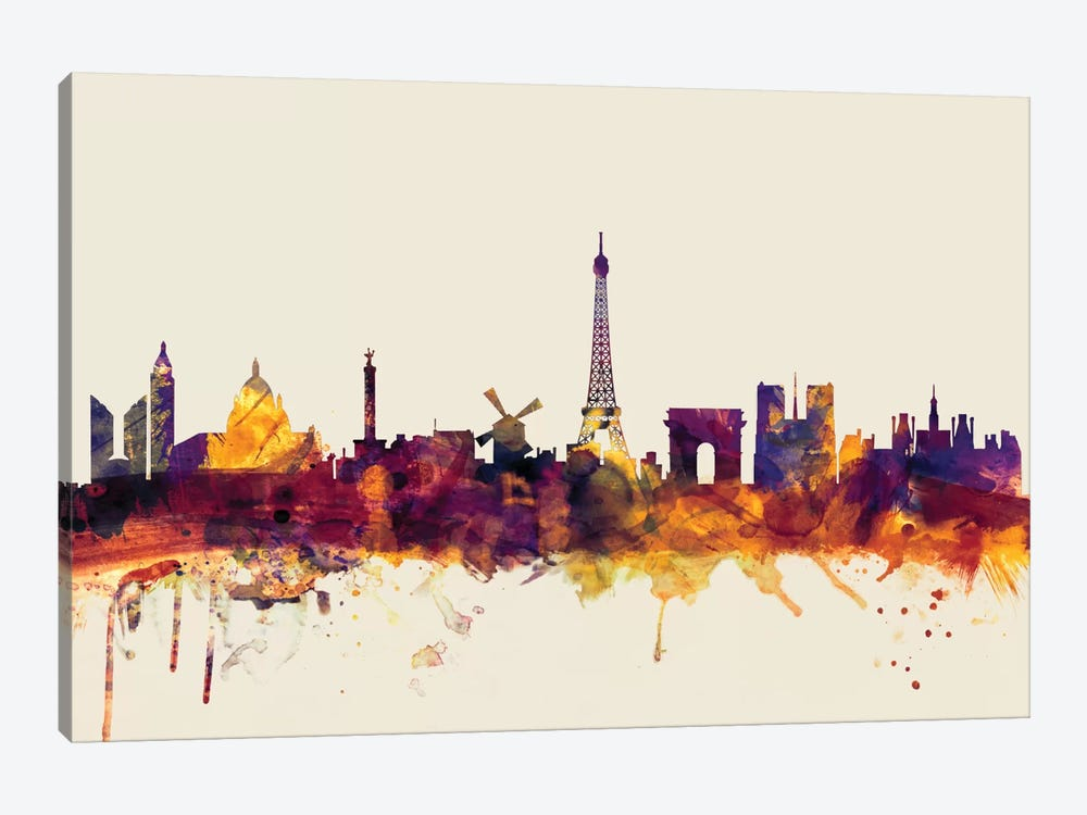 Skyline Series: Paris, France On Beige by Michael Tompsett 1-piece Canvas Art