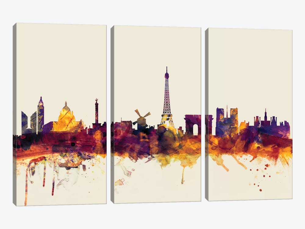 Skyline Series: Paris, France On Beige by Michael Tompsett 3-piece Canvas Wall Art