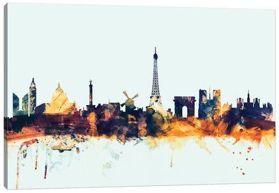 Skyline Series: Paris, France On Blue Canvas Print #MTO379