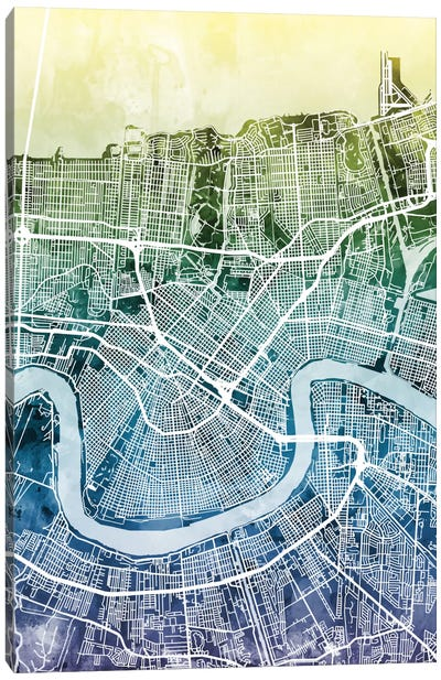 Color Gradient Urban Street Map Series: New Orleans, Louisiana, USA Canvas Art Print