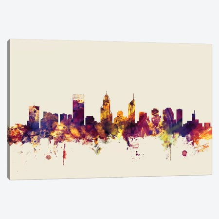 Perth, Australia On Beige Canvas Print #MTO380} by Michael Tompsett Canvas Wall Art