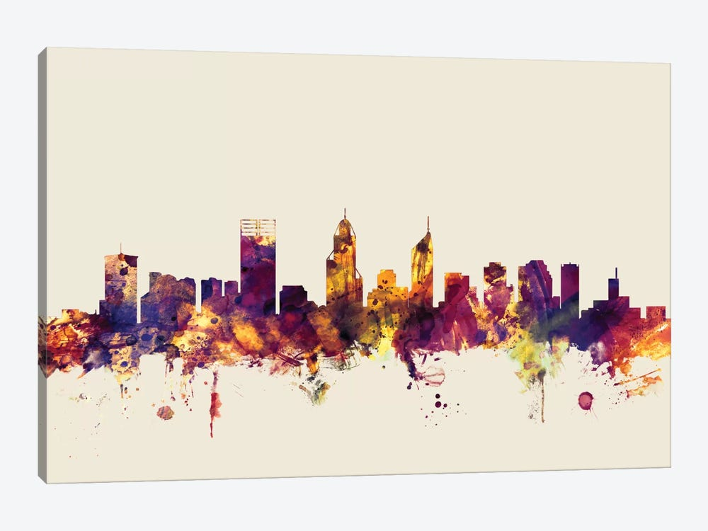 Perth, Australia On Beige by Michael Tompsett 1-piece Canvas Art Print