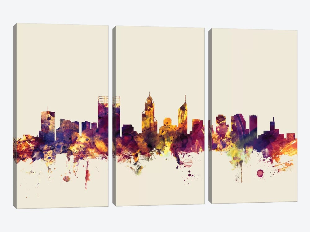 Perth, Australia On Beige by Michael Tompsett 3-piece Canvas Art Print