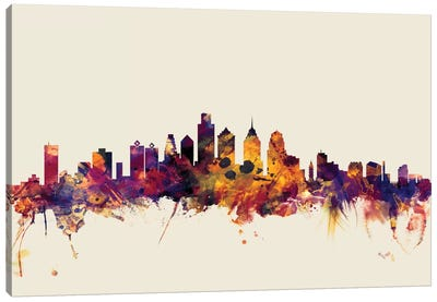 Philadelphia, Pennsylvania, USA On Beige Canvas Art Print