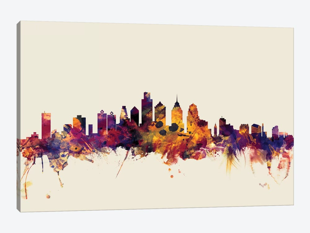 Skyline Series: Philadelphia, Pennsylvania, USA On Beige by Michael Tompsett 1-piece Art Print