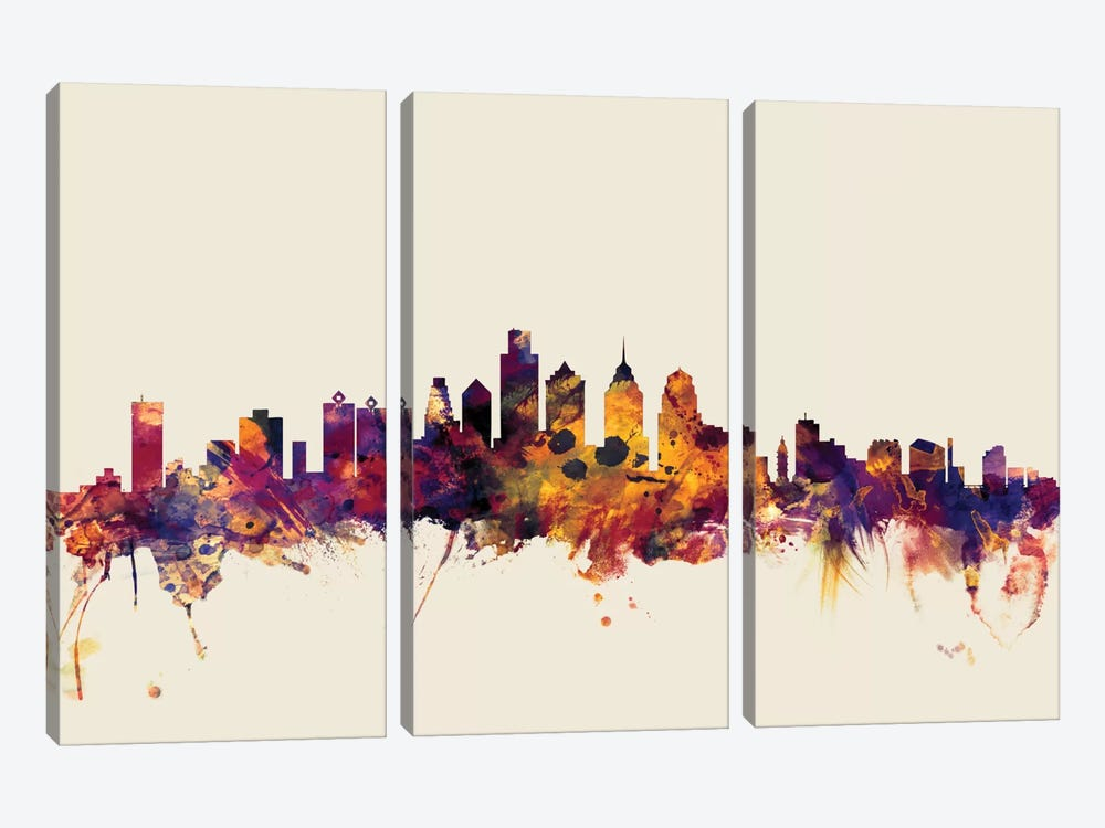 Skyline Series: Philadelphia, Pennsylvania, USA On Beige by Michael Tompsett 3-piece Canvas Art Print
