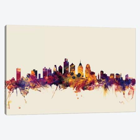Philadelphia, Pennsylvania, USA On Beige 3-Piece Canvas #MTO382} by Michael Tompsett Canvas Art