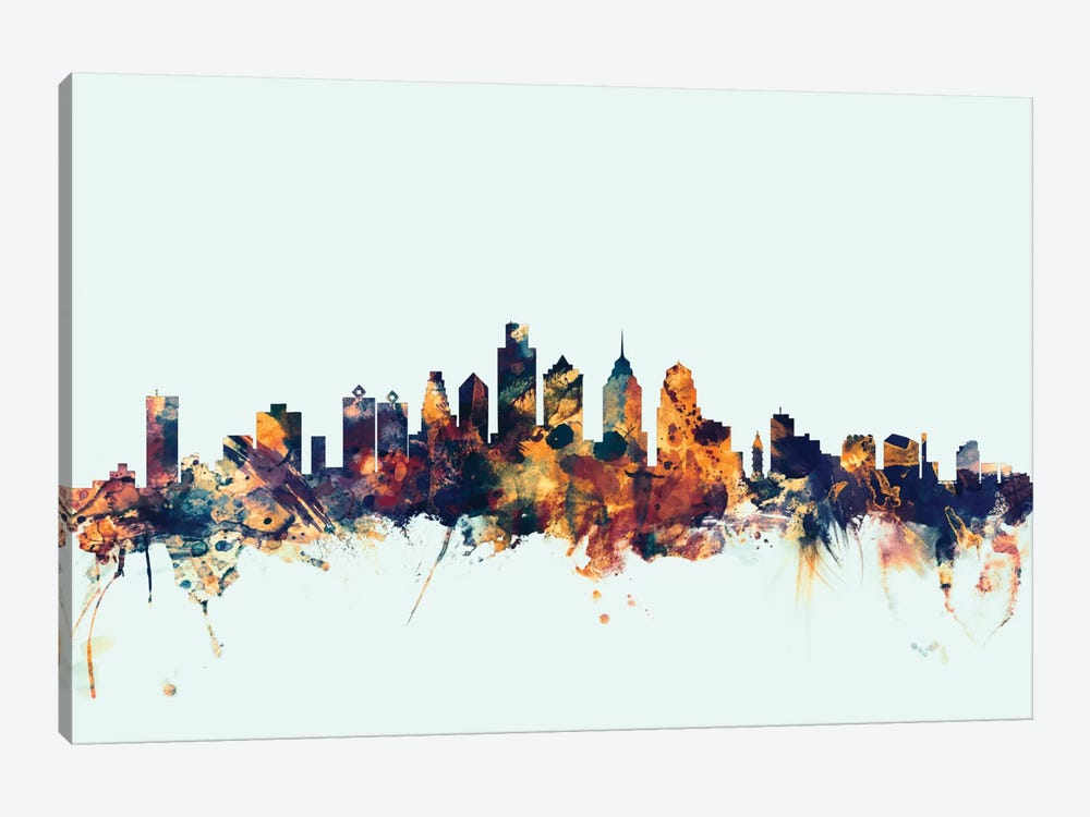 Philadelphia, Pennsylvania, USA On Blue by Michael Tompsett 1-piece Canvas Artwork