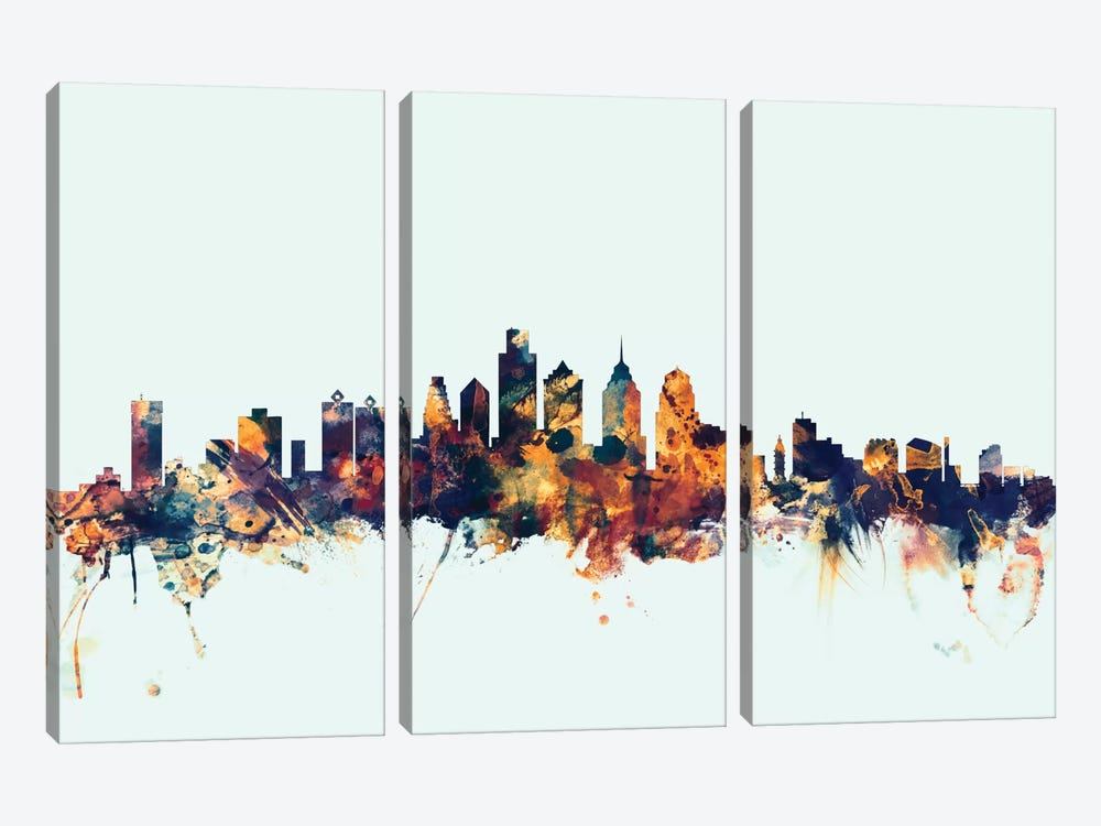 Philadelphia, Pennsylvania, USA On Blue by Michael Tompsett 3-piece Canvas Art
