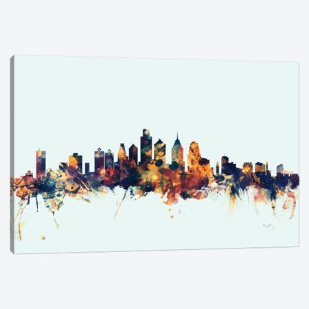 Philadelphia, Pennsylvania, USA On Blue Canvas Print #MTO383} by Michael Tompsett Canvas Artwork