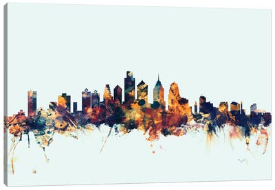 Philadelphia, Pennsylvania, USA On Blue Canvas Art Print