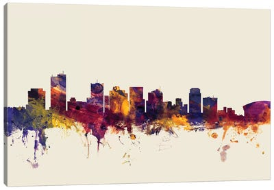 Skyline Series: Phoenix, Arizona, USA On Beige Canvas Print #MTO384