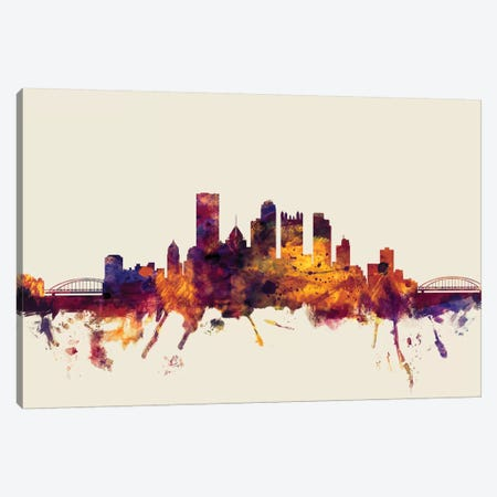 Pittsburgh, Pennsylvania, USA On Beige Canvas Print #MTO386} by Michael Tompsett Canvas Print