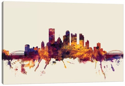 Skyline Series: Pittsburgh, Pennsylvania, USA On Beige Canvas Print #MTO386