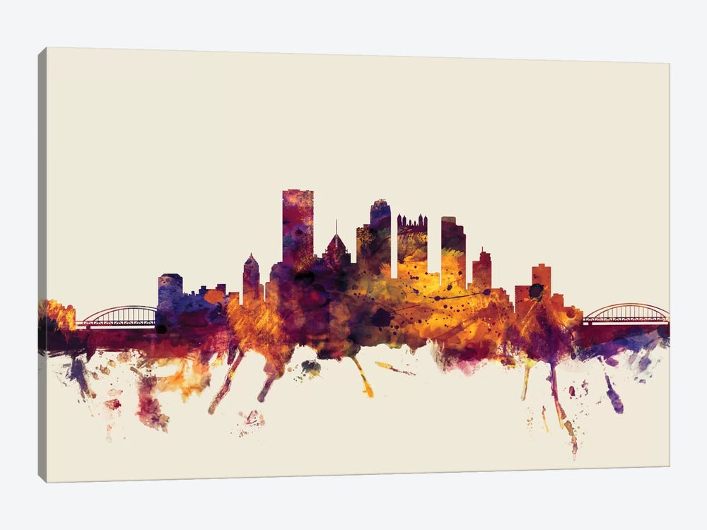 Pittsburgh, Pennsylvania, USA On Beige 1-piece Canvas Art Print