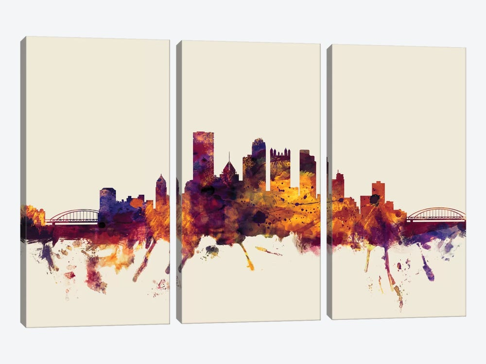 Pittsburgh, Pennsylvania, USA On Beige 3-piece Art Print