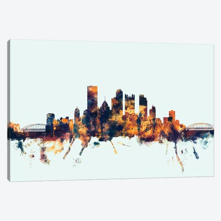 Pittsburgh, Pennsylvania, USA On Blue Canvas Print #MTO387} by Michael Tompsett Art Print
