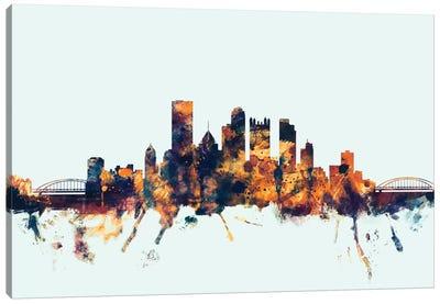 Skyline Series: Pittsburgh, Pennsylvania, USA On Blue Canvas Print #MTO387