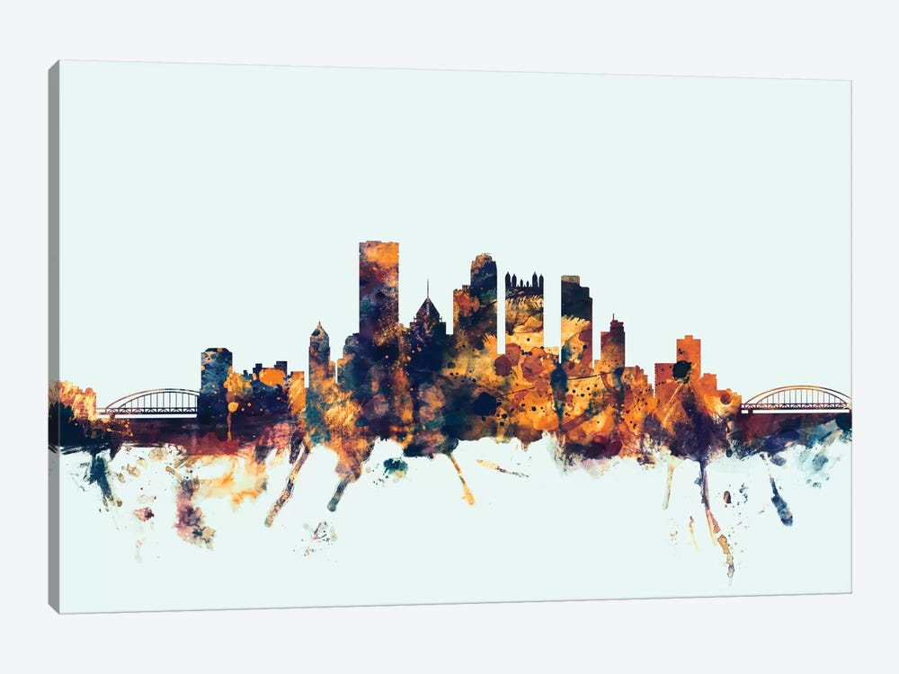Skyline Series: Pittsburgh, Pennsylvania, USA On Blue by Michael Tompsett 1-piece Canvas Wall Art