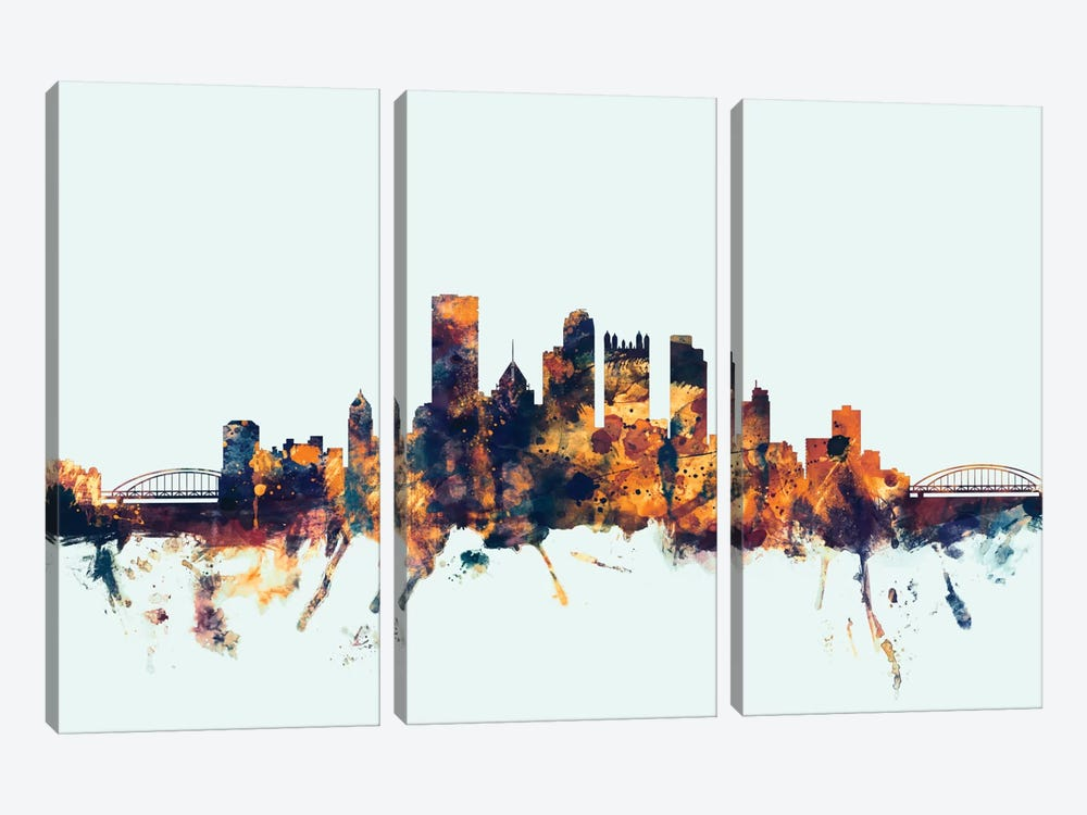 Skyline Series: Pittsburgh, Pennsylvania, USA On Blue by Michael Tompsett 3-piece Canvas Wall Art