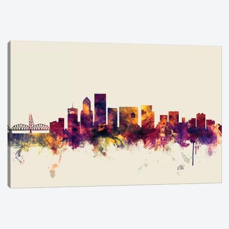 Portland, Oregon, USA On Beige Canvas Print #MTO388} by Michael Tompsett Canvas Artwork