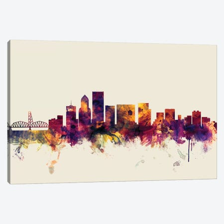 Portland, Oregon, USA On Beige Canvas Print #MTO388} by Michael Tompsett Canvas Artwork