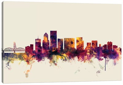 Portland, Oregon, USA On Beige Canvas Art Print