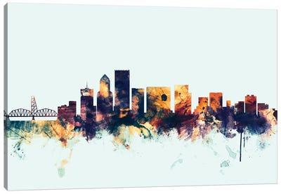 Portland, Oregon, USA On Blue Canvas Art Print