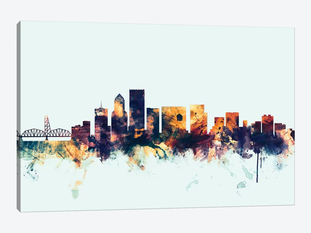 Skyline Series: Portland, Oregon, USA On Blue 1-piece Canvas Art