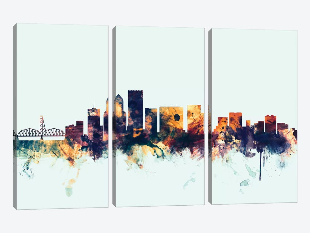 Skyline Series: Portland, Oregon, USA On Blue by Michael Tompsett 3-piece Canvas Art