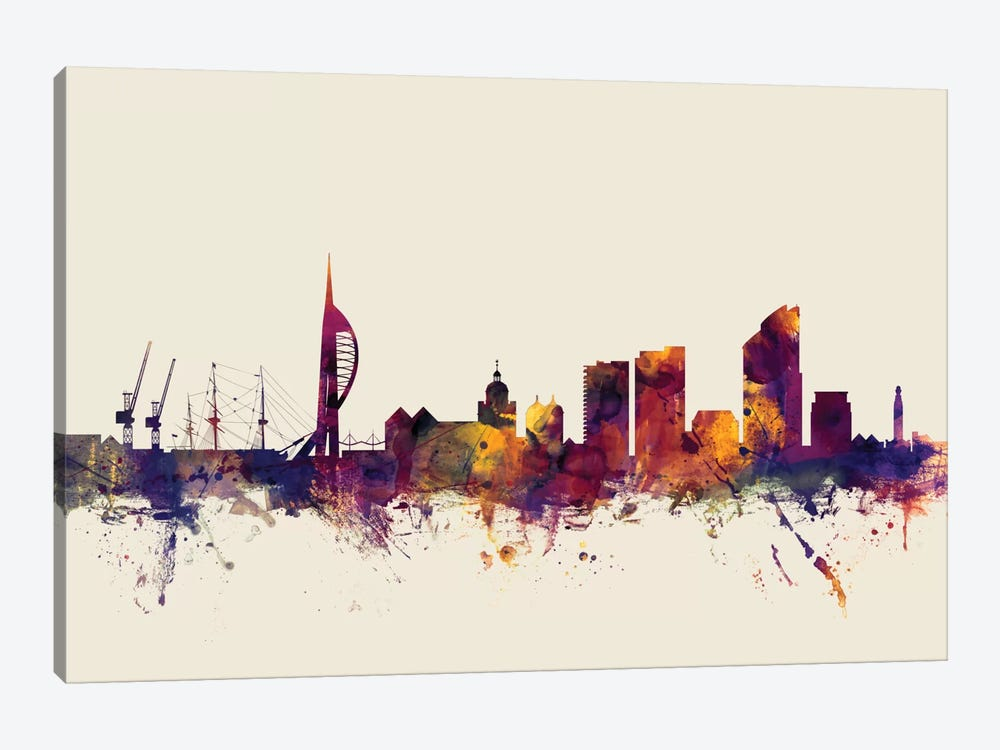 Skyline Series: Portsmouth, England, United Kingdom On Beige by Michael Tompsett 1-piece Canvas Artwork