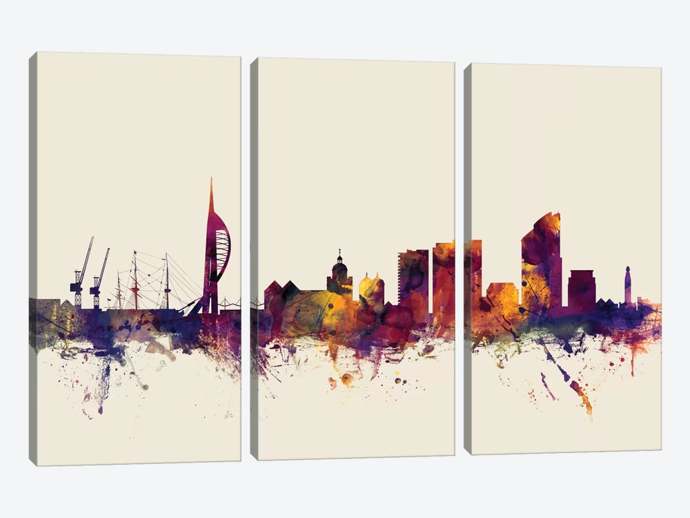 Skyline Series: Portsmouth, England, United Kingdom On Beige by Michael Tompsett 3-piece Canvas Art