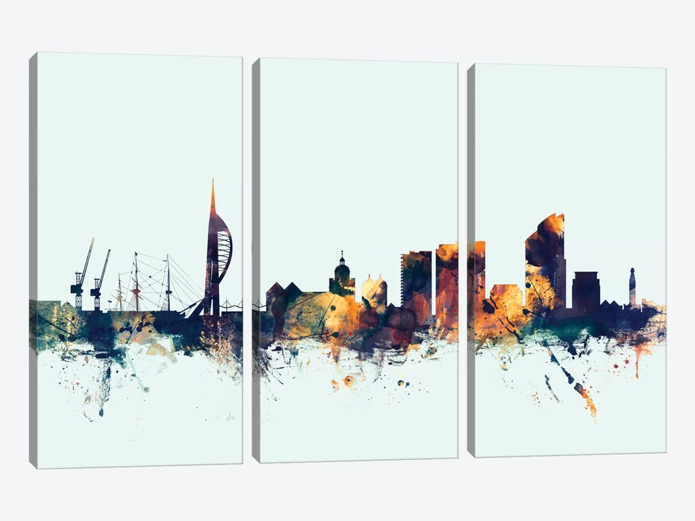 Portsmouth, England, United Kingdom On Blue by Michael Tompsett 3-piece Art Print