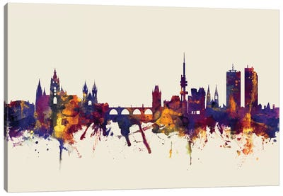 Prague, Czech Republic On Beige Canvas Art Print