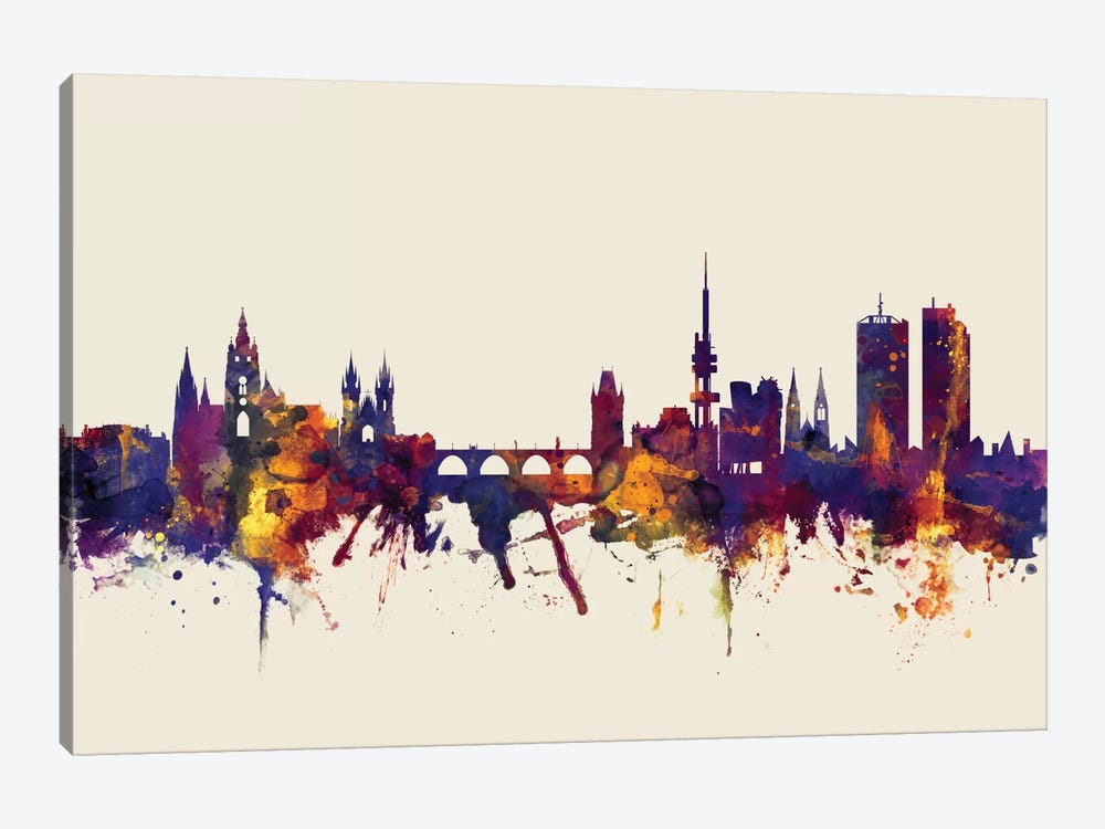Prague, Czech Republic On Beige by Michael Tompsett 1-piece Canvas Artwork