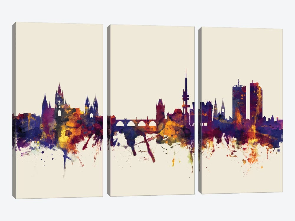 Prague, Czech Republic On Beige by Michael Tompsett 3-piece Canvas Artwork